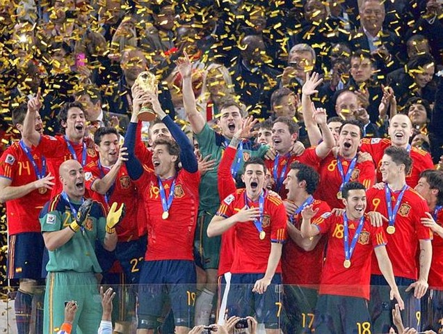 SpainNationalSoccerTeamWinnerofthe2010WorldCupinSouthAfrica
