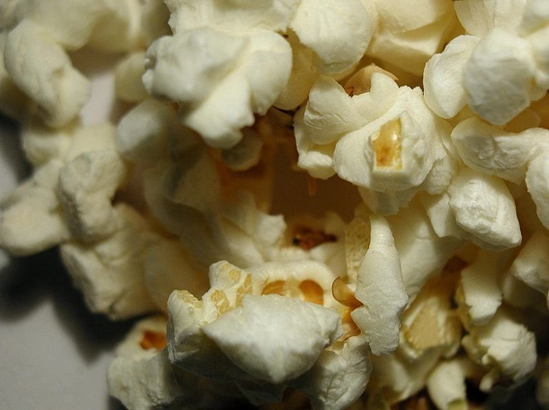 Popcorn popped on a white background