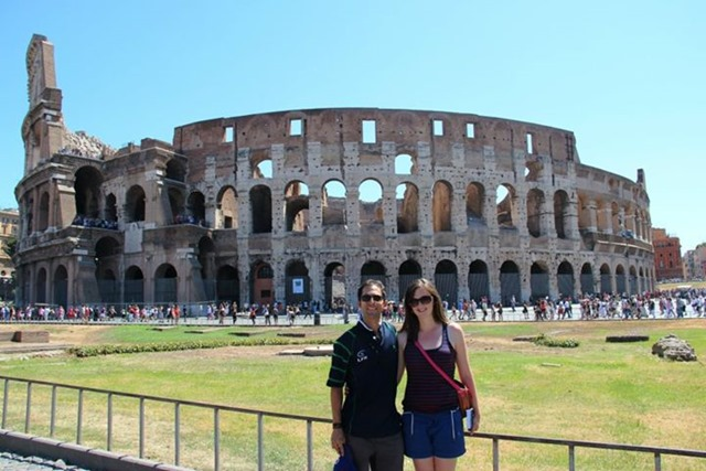 Spanish American Couple Rome Colosseum
