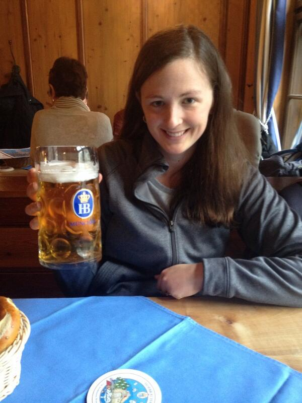 Sharing a liter of beer for lunch in Hofbrauhaus